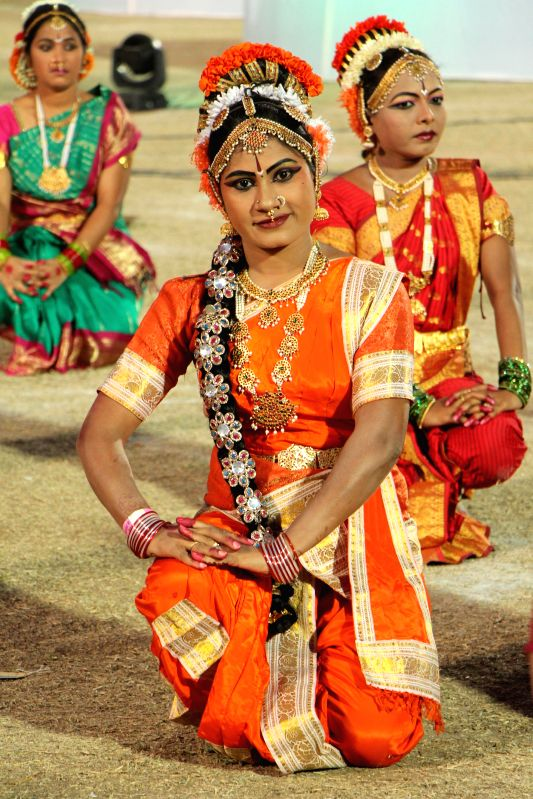Dancers participate in Kuchipudi Festival at Lal Bahadur Shastri Stadium in Hyderabad on Dec 28, 2014.