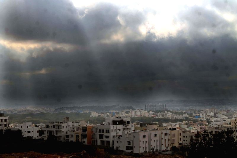 Dark clouds loom over Hyderabad on Jan 1, 2015.