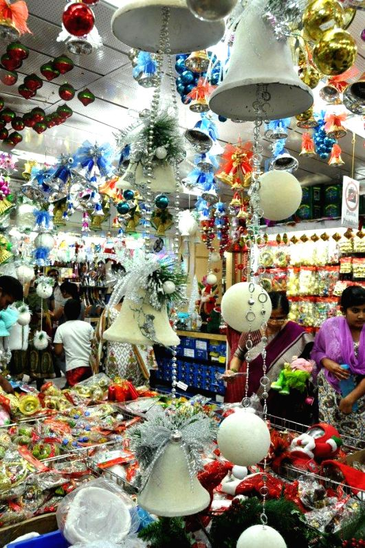 Decorative items on sale ahead of Christmas in Hyderabad, on Dec 15, 2014.