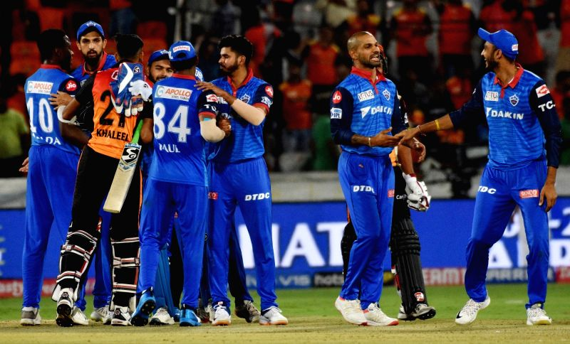 Hyderabad: Delhi Capitals' celebrate after winning the 30th match of IPL 2019 against Sunrisers Hyderabad at Rajiv Gandhi International Stadium in Hyderabad on April 14, 2019. (Photo: IANS)