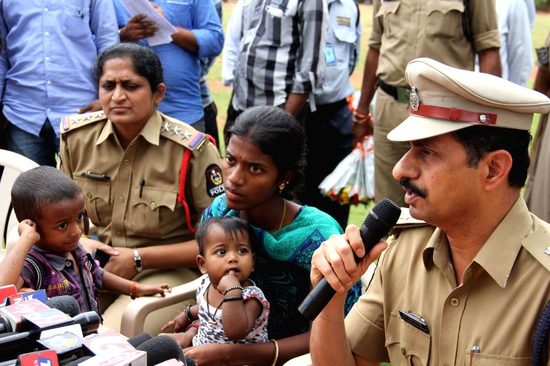 Deputy Commissioner of Police (Central Zone) V B Kamalasan Reddy addresses a press conference after a home guard prevented two children and their mother from committing suicide in ...