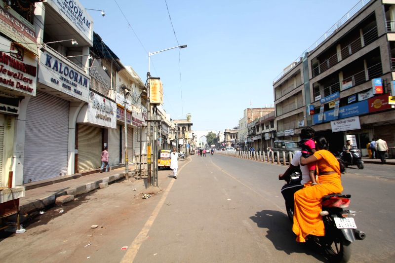 Deserted streets at the old city in Hyderabad due to a shutdown call given by some Muslim groups to mark the 22nd anniversary of the demolition of the Babri Masjid on Dec. 6, 2014.