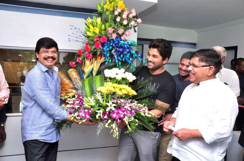 Director Boyapati Srinu birthday celebration at Geeta Arts office.