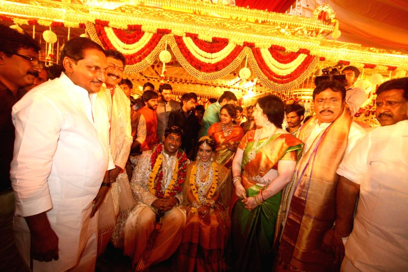 Former Andhra Pradesh Chief Minister N Kiran Kumar Reddy during INC leader Danam Nagender's daughter`s wedding ceremony in Hyderabad, on April 30, 2015. - N Kiran Kumar Reddy