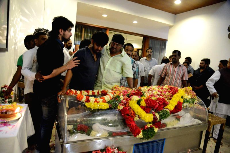 Friends and relatives pay their last respect to multilingual Indian film producer Daggubati Ramanaidu (D Ramanaidu), who breathed his last in Hyderabad on Feb 18, 2015.