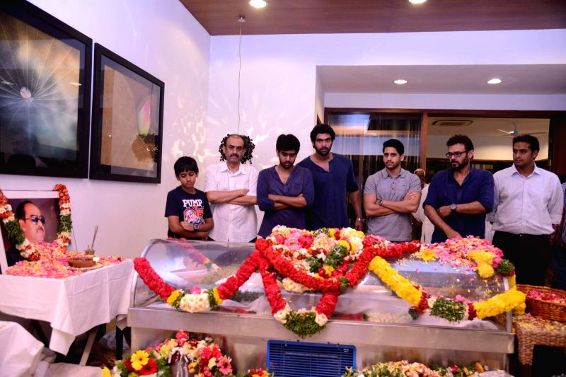 Friends and relatives pay their last respect to multilingual Indian film producer Daggubati Ramanaidu (D Ramanaidu), who breathed his last on 18th Feb 2015 in Hyderabad on Feb 19, 2015.