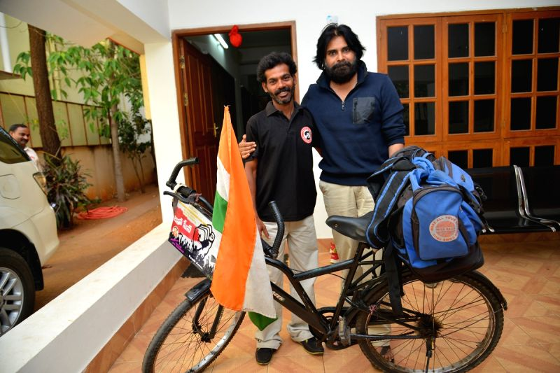 Hero Pavan Kalyans fan Addamki Ravi from Kharagpur of West Benagal traveled by bicycle to meet his hero on 3rd April, 2015 .  He reached Hyderabad on 30 April, 2015 and met Pavan Kalyan.