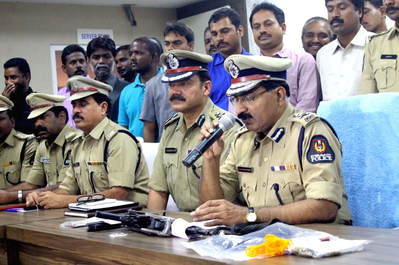 Hyderabad Police Commissioner Mahender Reddy during a press conference regarding firing on Aurobindo Pharma director at KBR Park, in Hyderabad on Nov 21, 2014.