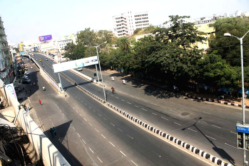 Hyderabad roads wear a deserted look as people prefer to stay indoors to watch an ICC World Cup 2015 match between India and Pakistan, being played in Australia, on Feb 15, 2015.