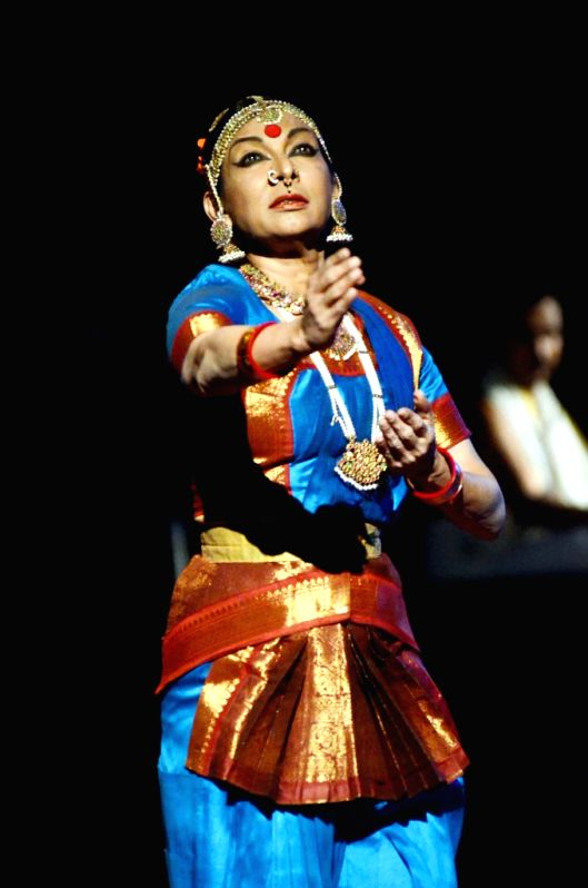 Indian classical dancer Mallika Sarabhai  preforms during the five-day long Krishnakriti festival in Hyderabad, on Jan 8, 2015.