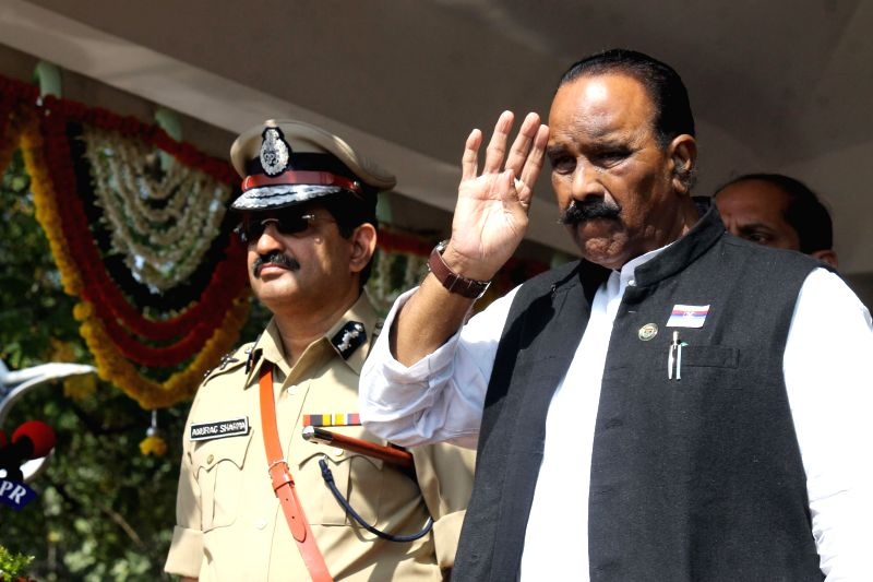 Karnataka Home Minister N Narasimha Reddy during the passing out parade of  the newly women police constable recruits at Andhra Pradesh Police Academy, Himayat Sagar in Hyderabad on Dec 5,