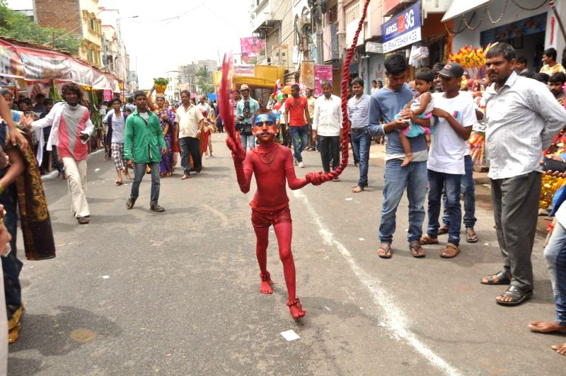 Hyderabad : Mahankali Bonalu celebrations underway in Hyderabad on July 31, 2016.