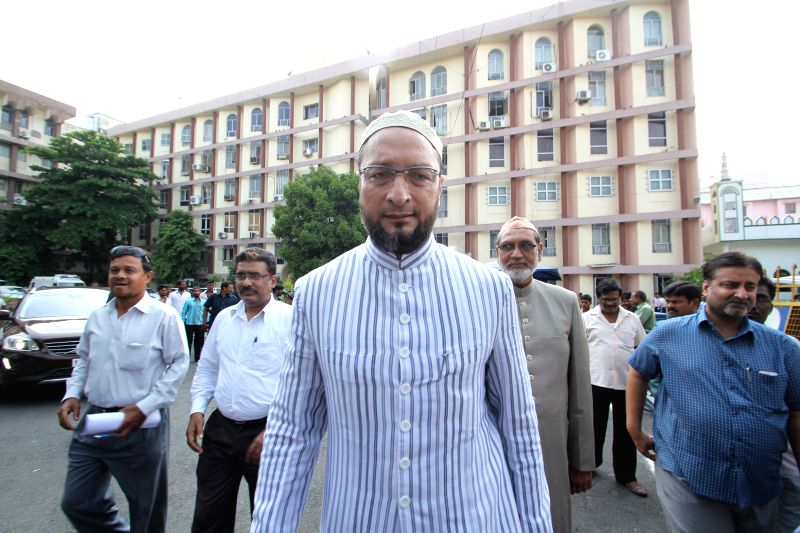 MIM chief Asaduddin Owaisi  at the Telangana secretariat in Hyderabad, on April 9, 2015.