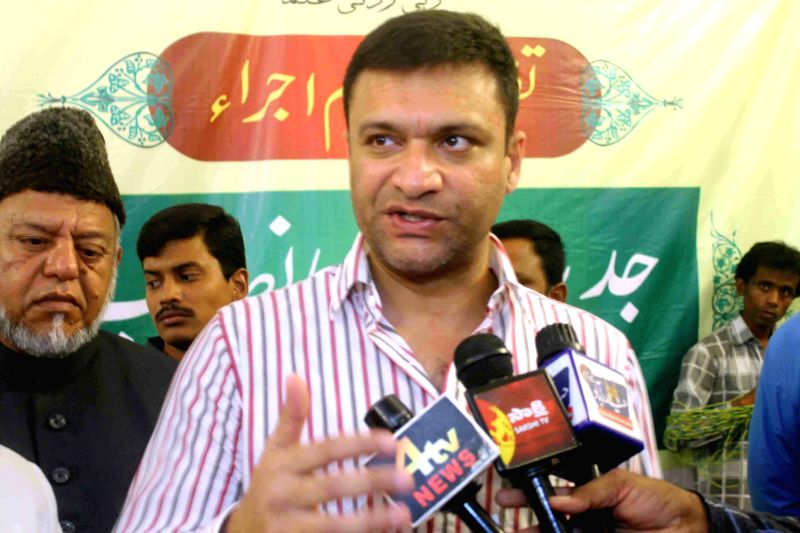 MIM leader Akbaruddin Owaisi addresses during a programme organised in Hyderabad on June 6, 2015.