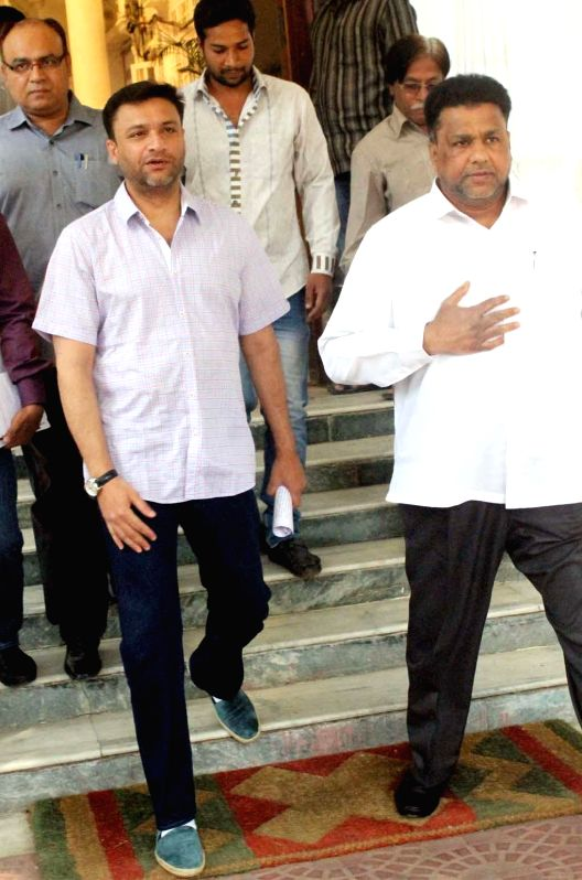 MIM leader legislator Akbaruddin Owaisi comes out of the Andhra Pradesh Legislative Assembly after an all party meeting in Hyderabad on Feb 25, 2015.