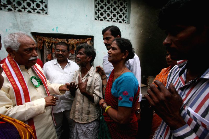 Ministry of State (Independent Charge), Labour and Employment Bandaru Dattatreya meets the relatives of chemical blast vistims where two children seriously got injured at Borabanda in ...