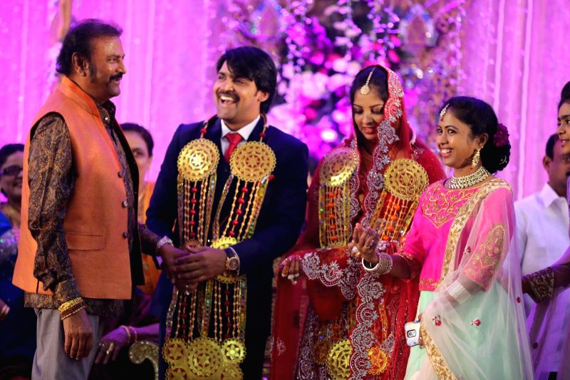 Mohan Babu attended comedian Ali borther Khayyym`s marriage reception at Sandhya Convention Centre at Gachibowli in Hyderabad.