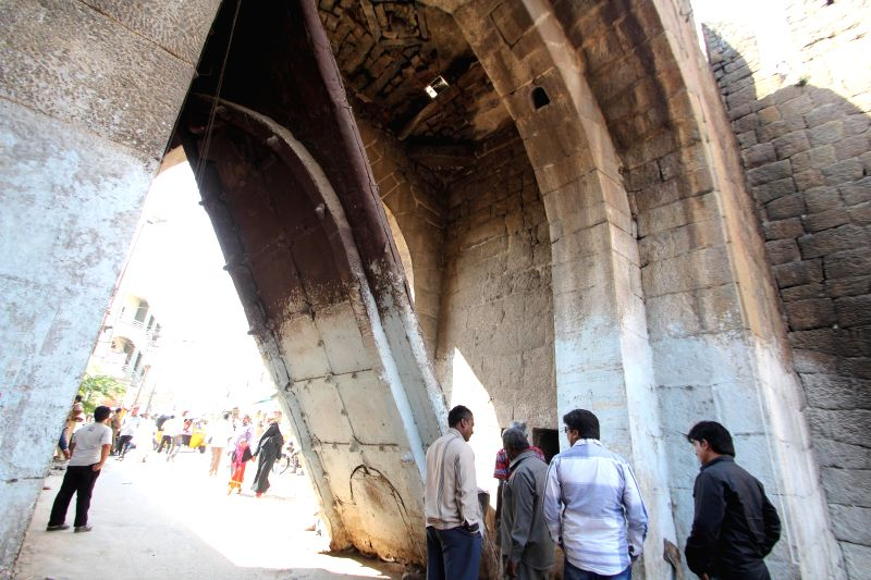 Moti Darwaza of Golconda Fort collapses in Hyderabad on Dec 3, 2014.