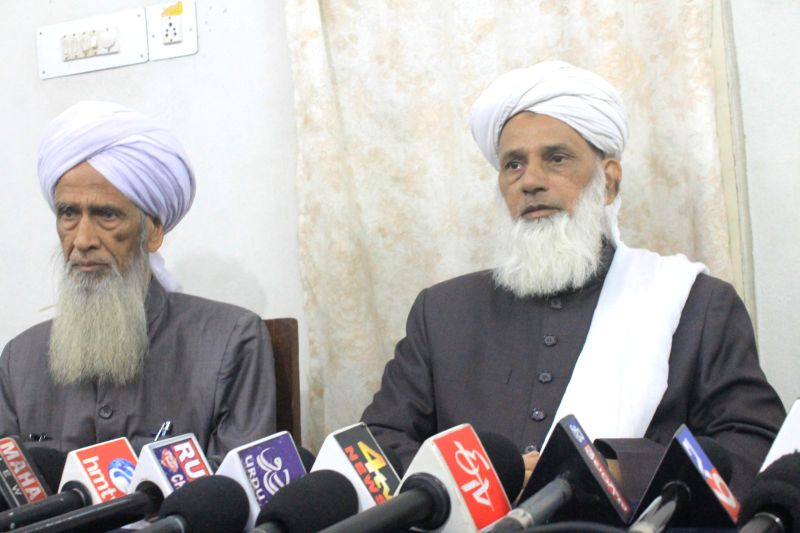 Mufti Khaleel Ahmed, head of the Islamic University Jamia Nizamia addresses a press conference in Hyderabad on Dec 1, 2014.