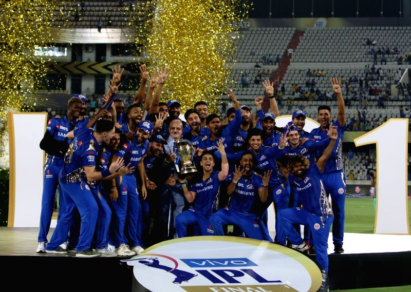 Hyderabad: Mumbai Indians' pose with the trophy after winning the Final match of IPL 2019 against Chennai Super Kings at Rajiv Gandhi International Stadium in Hyderabad, on May 12, 2019. Mumbai Indians won by 1 run. It also became the first team to w