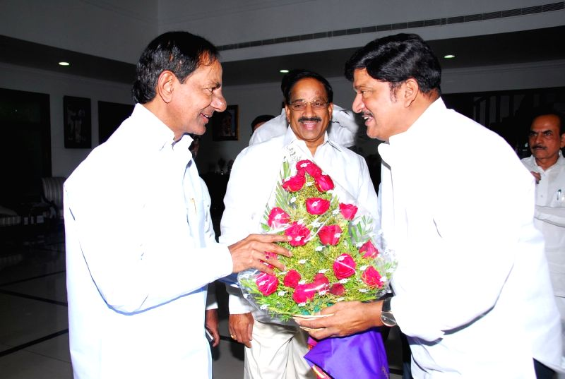 Newly elected Movie Artists Association President Rajendra Prasad Met Telangana Chief Minister K Chandra Shekar Rao at his camp office. - K Chandra Shekar Rao