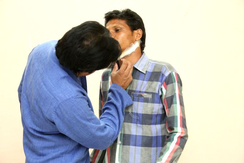 Pawan kalyan Meets his Fan Karuna Sreenivas on Jan 6, 2015.