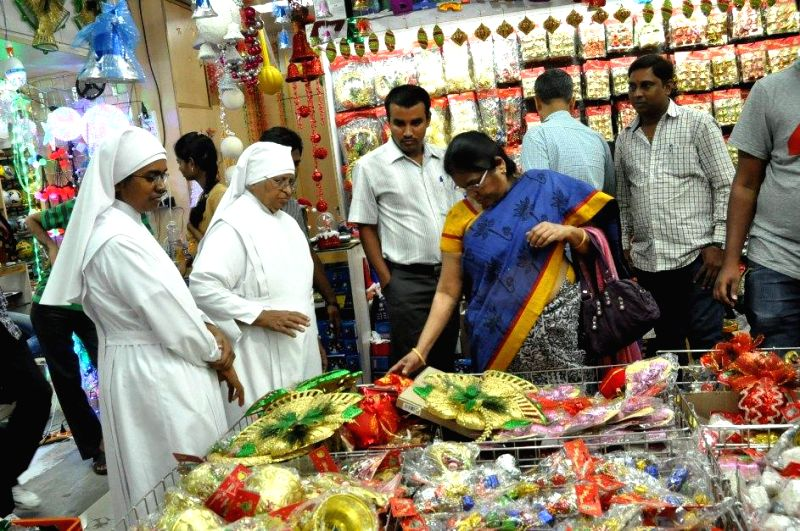 People busy shopping ahead of  Christmas in Hyderabad, on Dec 15, 2014.