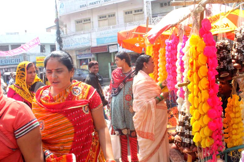 People busy with Holi shopping in Hyderabad  on March 3, 2015.