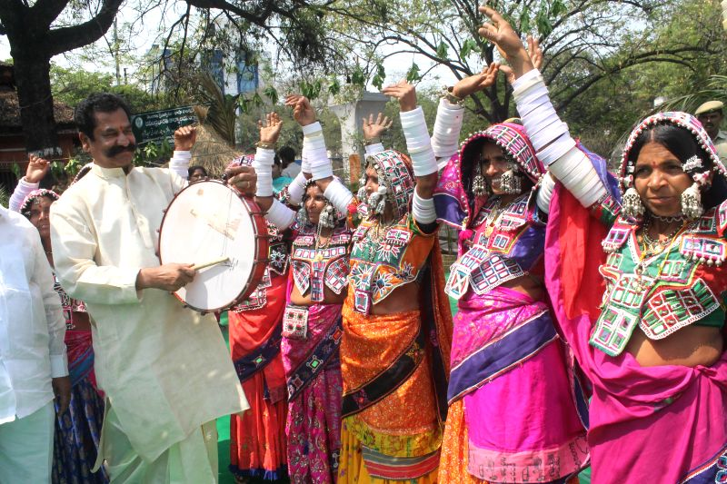 People celebrate Ugadi in Hyderabad, on March 21, 2015.