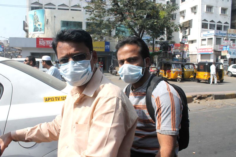 People wearing mask as a lot of swine flu case was reported in Hyderabad on Jan 24, 2015.