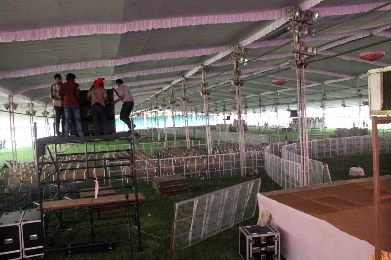 Preparations for TRS upcoming rally underway at Lal Bahadur Shastri Stadium in Hyderabad, on April 22, 2015.