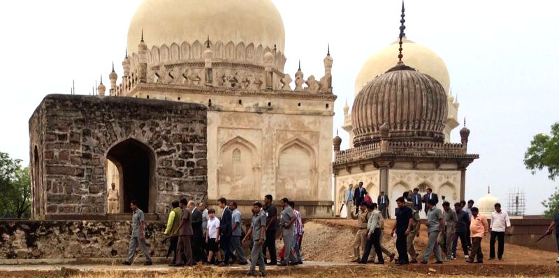 Prince Agha Khan visited historic 400 year old seven tombs of Quli Qutub Shah in Hyderabad on April 11, 2015.