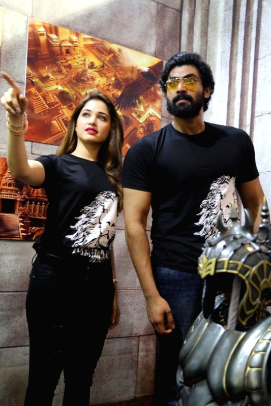 Producer Rana Daggubati and actress Tamannaah Bhatia during a programme in Hyderabad. - Tamannaah Bhatia