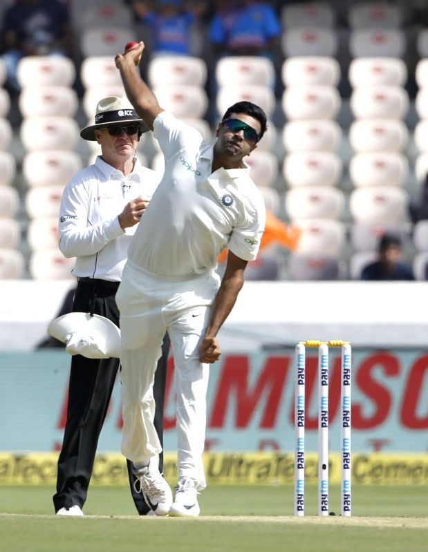 :Hyderabad: Ravichandran Ashwin of India in action on Day 1 of the Second Test match between India and West Indies at Rajiv Gandhi International Stadium in Hyderabad on Oct 12, 2018. (Photo: ...(Image Source: IANS)
