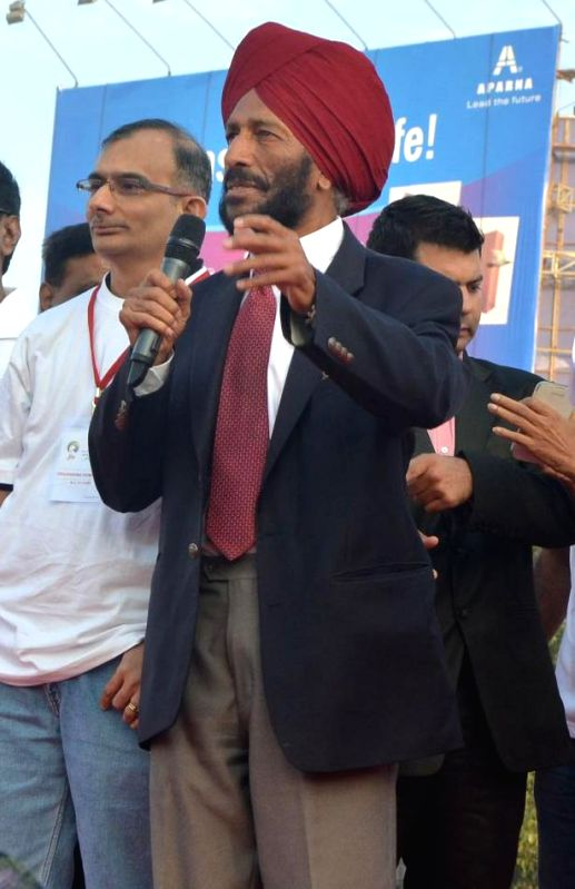 Renowned athlete Milkha Singh during a programme to flag-off `Hyderabad 10 K Run` on Nov 30, 2014.