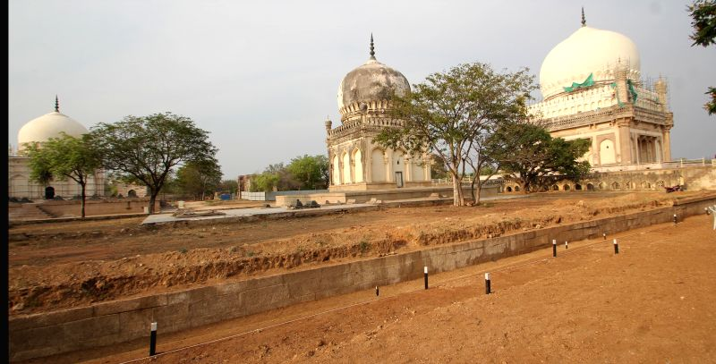 Restoration work underway at Qutb Shahi tombs in Hyderabad, on March 31, 2015.
