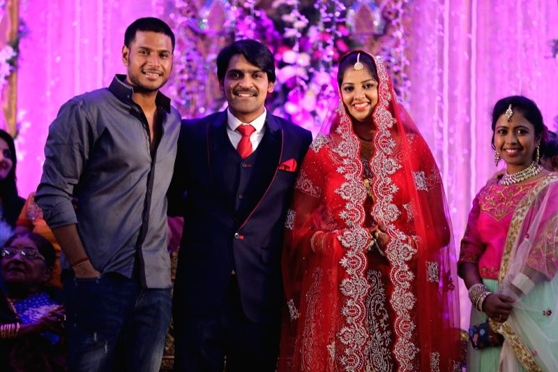 Sandeep Kishen attended comedian Ali borther Khayyym`s marriage reception at Sandhya Convention Centre at Gachibowli in Hyderabad.