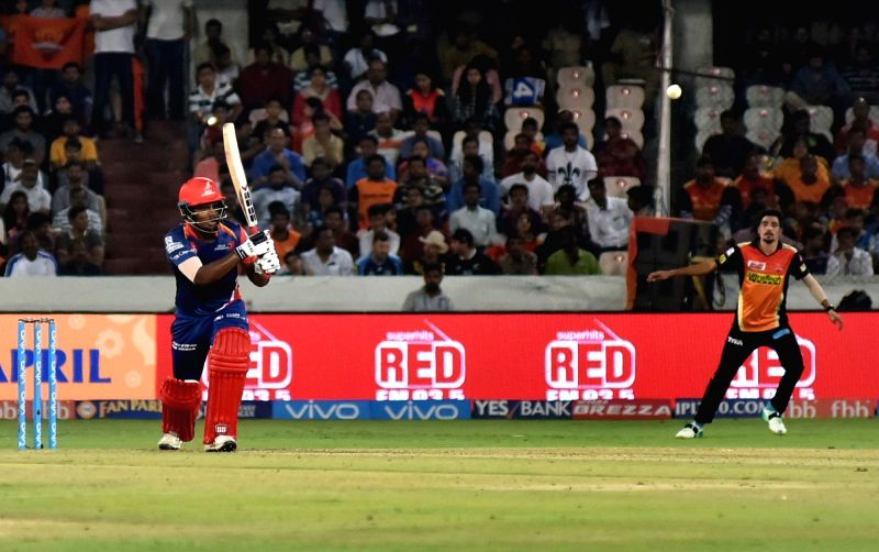 Hyderabad: Sanju Samson of Delhi Daredevils in action during an IPL 2017 match between Sunrisers Hyderabad and Delhi Daredevils at Rajiv Gandhi International Stadium in Hyderabad on April ...