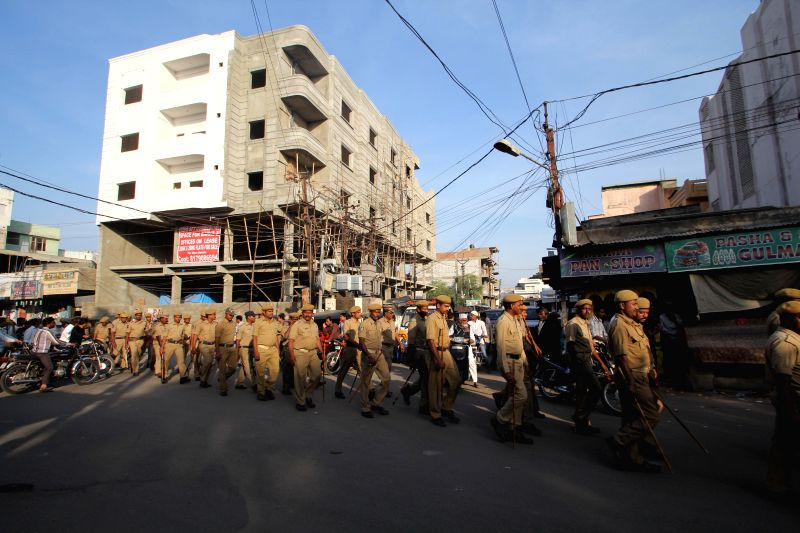 Security beefed-up in Hyderabad on the eve of 22nd anniversary of demolition of Babri Masjid, on Dec 5, 2014.