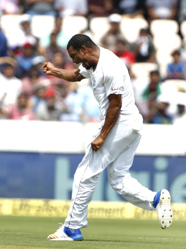 Hyderabad: Shannon Gabriel of West celebrates the wicket of Cheteshwar Pujara on Day 2 of the Second Test match between India and West Indies at Rajiv Gandhi International Stadium in Hyderabad on Oct 13, 2018. (Photo: Surjeet Yadav/IANS)
