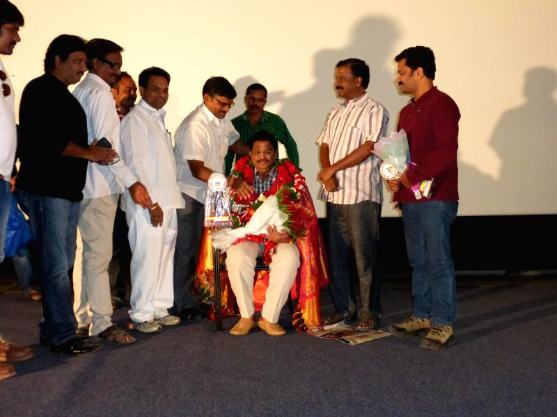 South Indian Film chamber of president C Kalyan elected as film federation of India secretary, in this connection Telugu Film Directors Association Felicitated at Prasad Labs in Hyderabad,