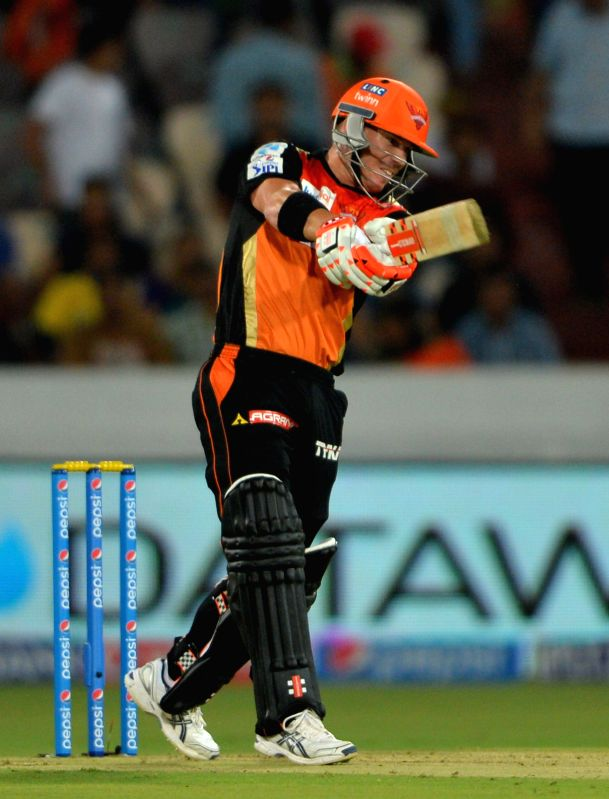 Sunrisers Hyderabad batsman David Warner in action during an IPL-2015 match between Chennai Super Kings and Sunrisers Hyderabad at Rajiv Gandhi International Stadium, Uppal in Hyderabad on ... - David Warner