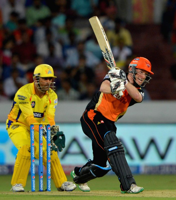 Sunrisers Hyderabad batsman Eoin Morgan in action during an IPL-2015 match between Chennai Super Kings and Sunrisers Hyderabad at Rajiv Gandhi International Stadium, Uppal in Hyderabad on ... - Eoin Morgan