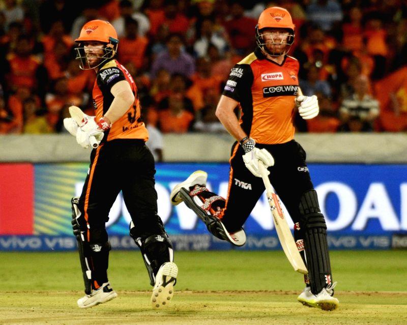 Hyderabad: Sunrisers Hyderabad's Jonny Bairstow and David Warner during the 38th match of IPL 2019 between Kolkata Knight Riders and Sunrisers Hyderabad at Rajiv Gandhi International Stadium in Hyderabad, on April 21, 2019.
