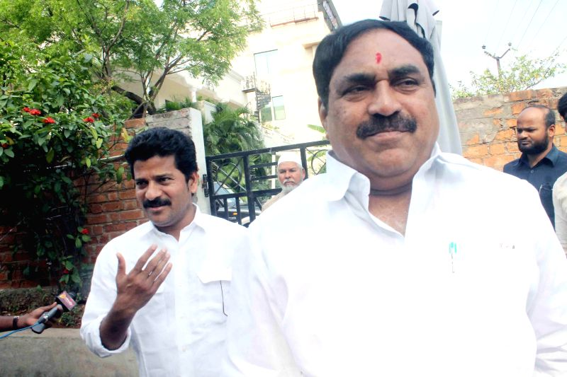 TDP leader Dayakar Rao arrives to meet Leader of Opposition in Telangana Assembly K. Jana Reddy at his residence in Hyderabad, on March 19, 2015.