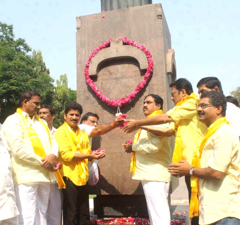 TDP legislators pay tribute to martyrs at the Gun Park in Hyderabad on March 7, 2015.