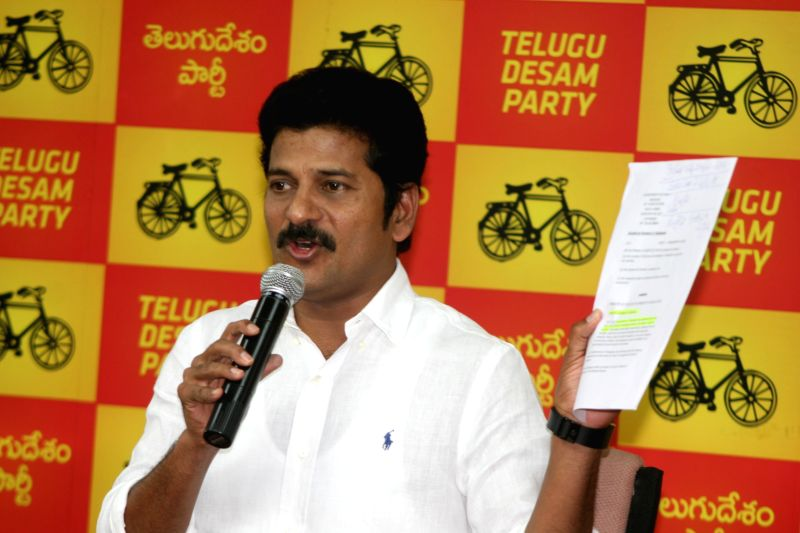 TDP MLA Revanth Reddy addresses a press conference in Hyderabad on Dec. 13, 2014.