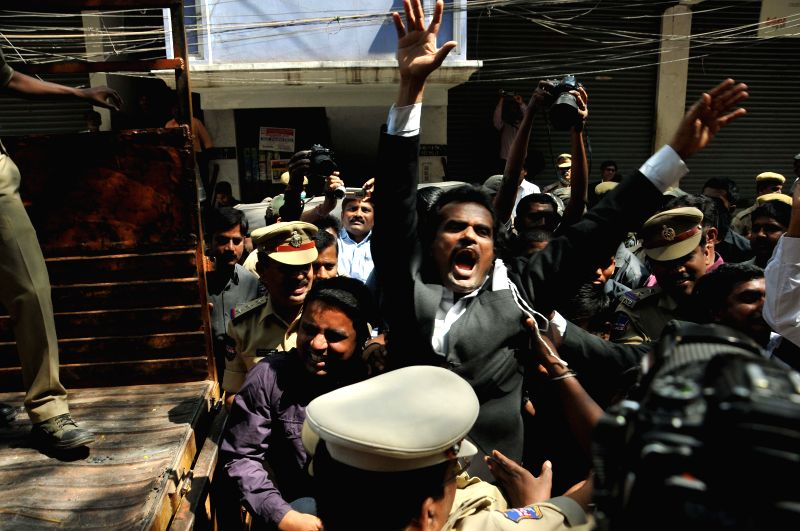 Telangana advocates being arrested by police over demanding high court bifurcations for Telangana state in Hyderabad on Feb 16, 2015.