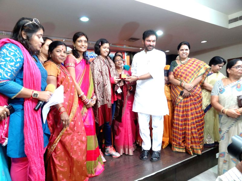 Telangana BJP chief G. Kishan Reddy participates in a programme organised on the International Women's Day in Hydbad on March 8, 2015. - G. Kishan Reddy