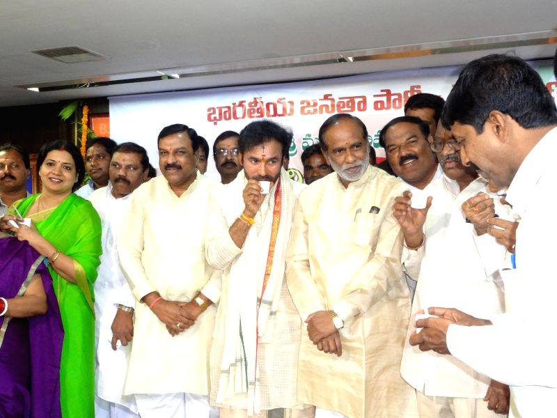 Telangana BJP chief G Kishan Reddy durind a programme organised to celebrate Ugadi in Hyderabad on March 21, 2015. - G Kishan Reddy